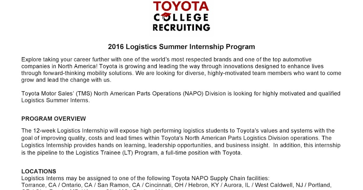 URI CBA Internship/Job Information Toyota - Logistics Summer Internship