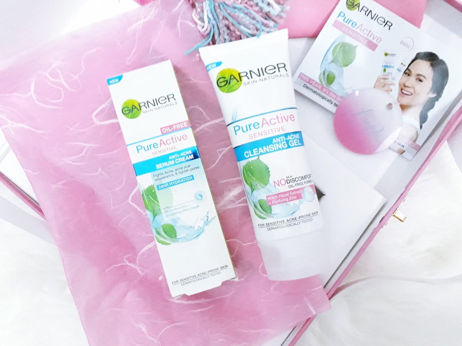 Perawatan Untuk Kulit Sensitif Rangkaian Garnier Pure Active Sensitive Anti Acne Cleansing Gel Foam 100 Ml