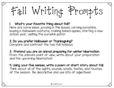 The Four Seasons: Fall, Winter, Spring, and Summer writing prompts, printables, and activities