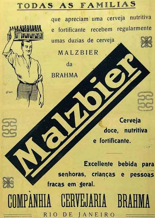 Propaganda antiga da Cerveja Malzbier com indicação de consumo para idosos e crianças