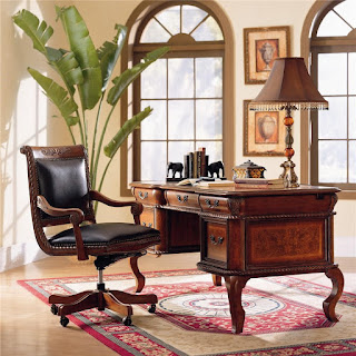 Napa Traditional L-Shape Desk & Return with Ash Burl and Rope Moulding Details