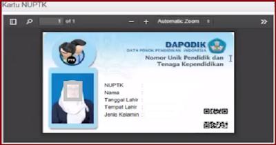 Cara Cetak Kartu NUPTK di Verval PTK 2018/2019 vervalptk.data.kemdikbud.go.id
