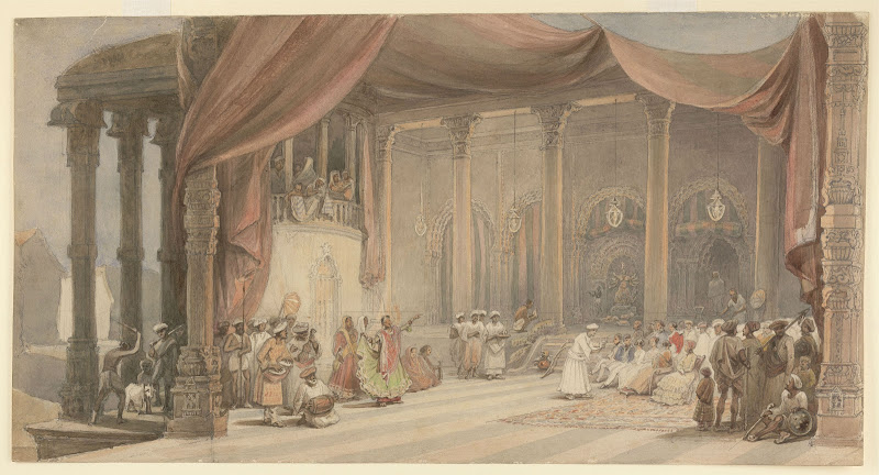 Europeans being entertained by dancers and musicians in a splendid Indian house in Calcutta (Kolkata) during Durga puja by William Prinsep 1840