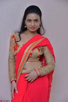 Bhimbika in Red Orange Saree at Sikhandi Movie Launch Spicy Pics 15.jpg