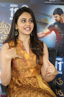 Rakul Preet Singh smiling Beautyin Brown Deep neck Sleeveless Gown at her interview 2.8.17 ~  Exclusive Celebrities Galleries 092.JPG