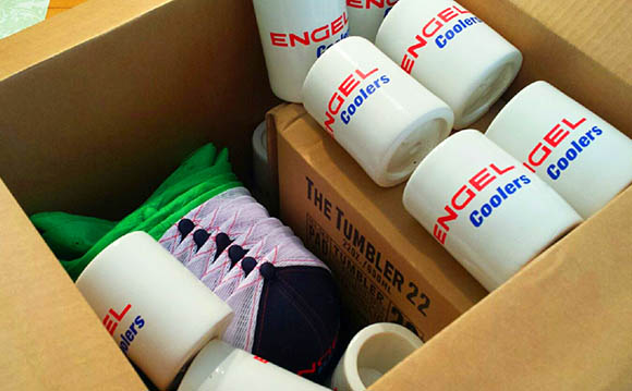 Engel Coozies and Schwag