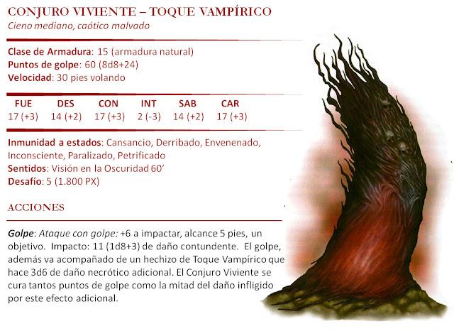 Monstruos D&D 5ª Edición - Conjuro Viviente Toque Vampírico