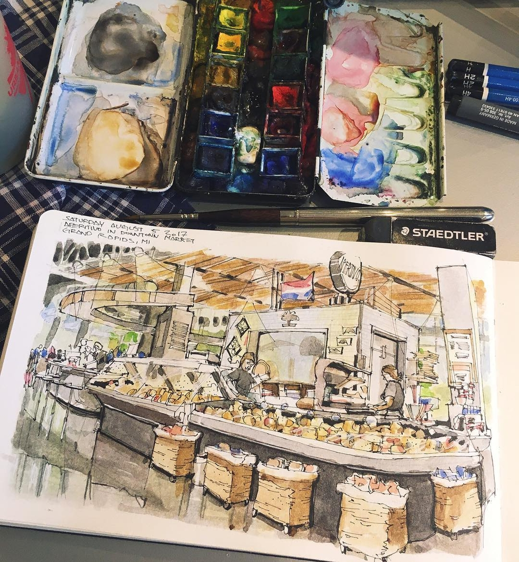 06-Downtown-Market-Sketching-Josiah-Hanchett-Urban-Sketcher-taking-in-the-views-and-Drawing-them-www-designstack-co