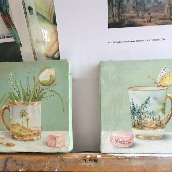 """Brigitte Coucoureux : deux petites toiles peintes à l'huile, des """"en-cas de Monsieur Hubert Robert""""  (photo : Brigitte Coucoureux)"""
