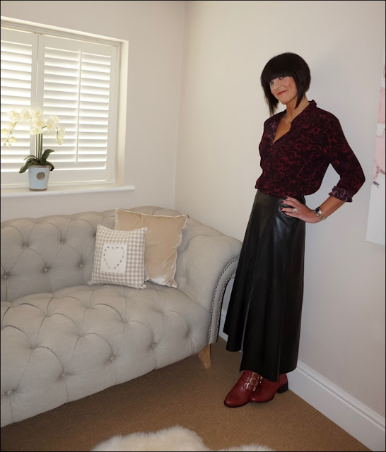 My Midlife Fashion, Hush Rita printed shirt, marks and spencer faux leather maxi skirt, office lucky charm boots