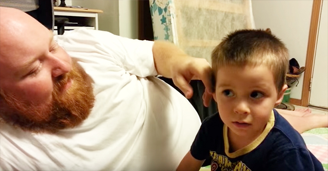 "Little boy cries after his dad ""took"" his ear and nose"