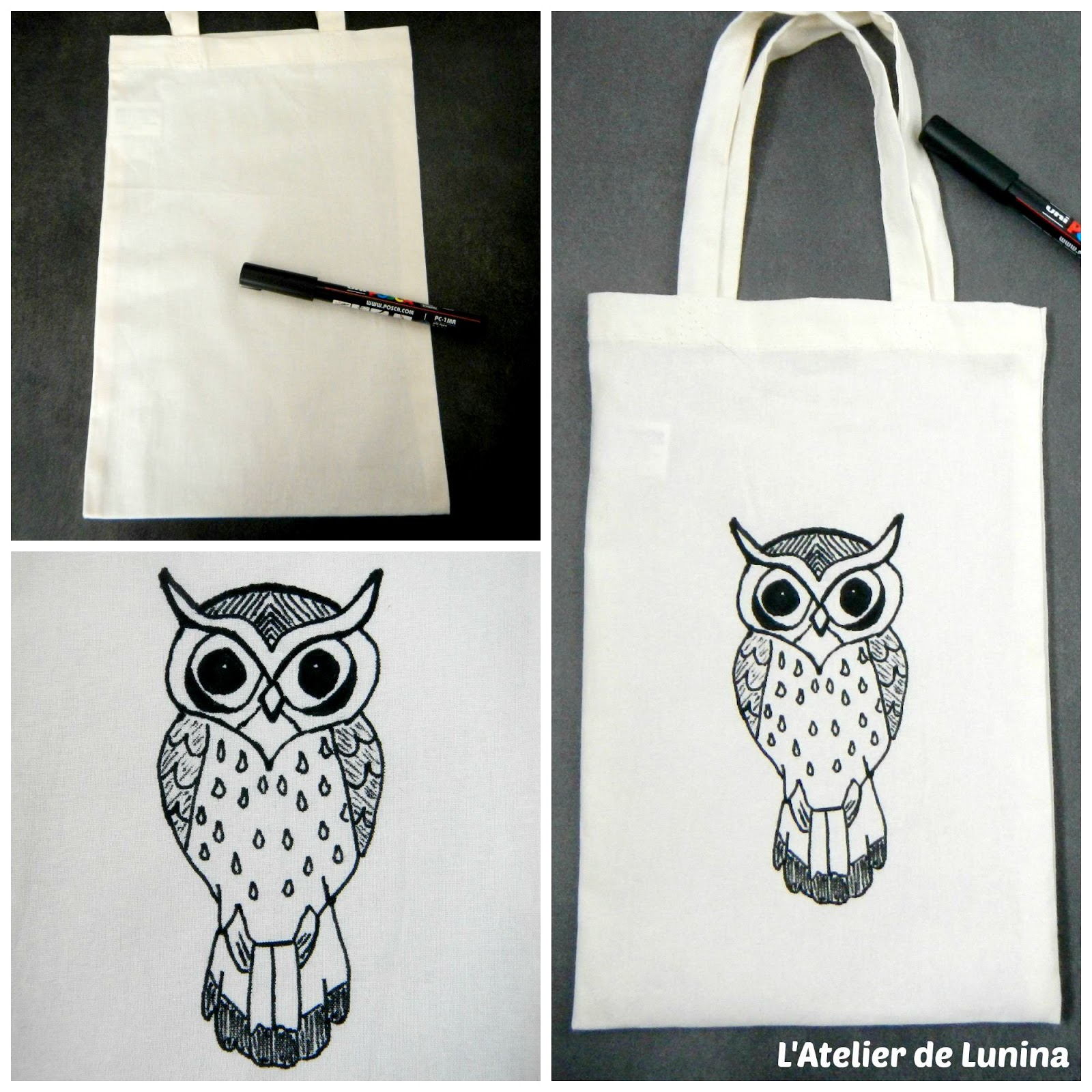 l 39 atelier de lunina diy tuto customiser un tote bag en chouette hibou. Black Bedroom Furniture Sets. Home Design Ideas