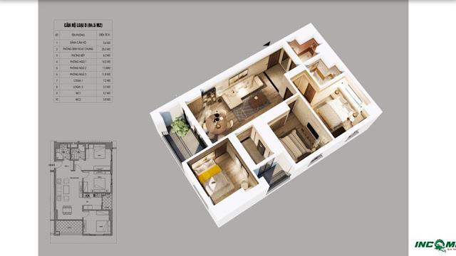 Thiết kế căn hộ loại D chung cư Northern Diamond