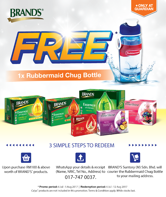 FREE Rubbermaid Chug Bottle with purchase of BRAND'S Products