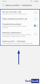 Samsung Game Launcher Ustawienia