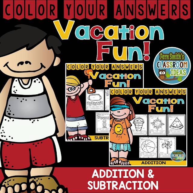 Fern Smith's Classroom Ideas Vacation Fun Multiplication, Division, Addition and Subtraction Facts Color Your Answers Printables at TeacherspayTeachers.