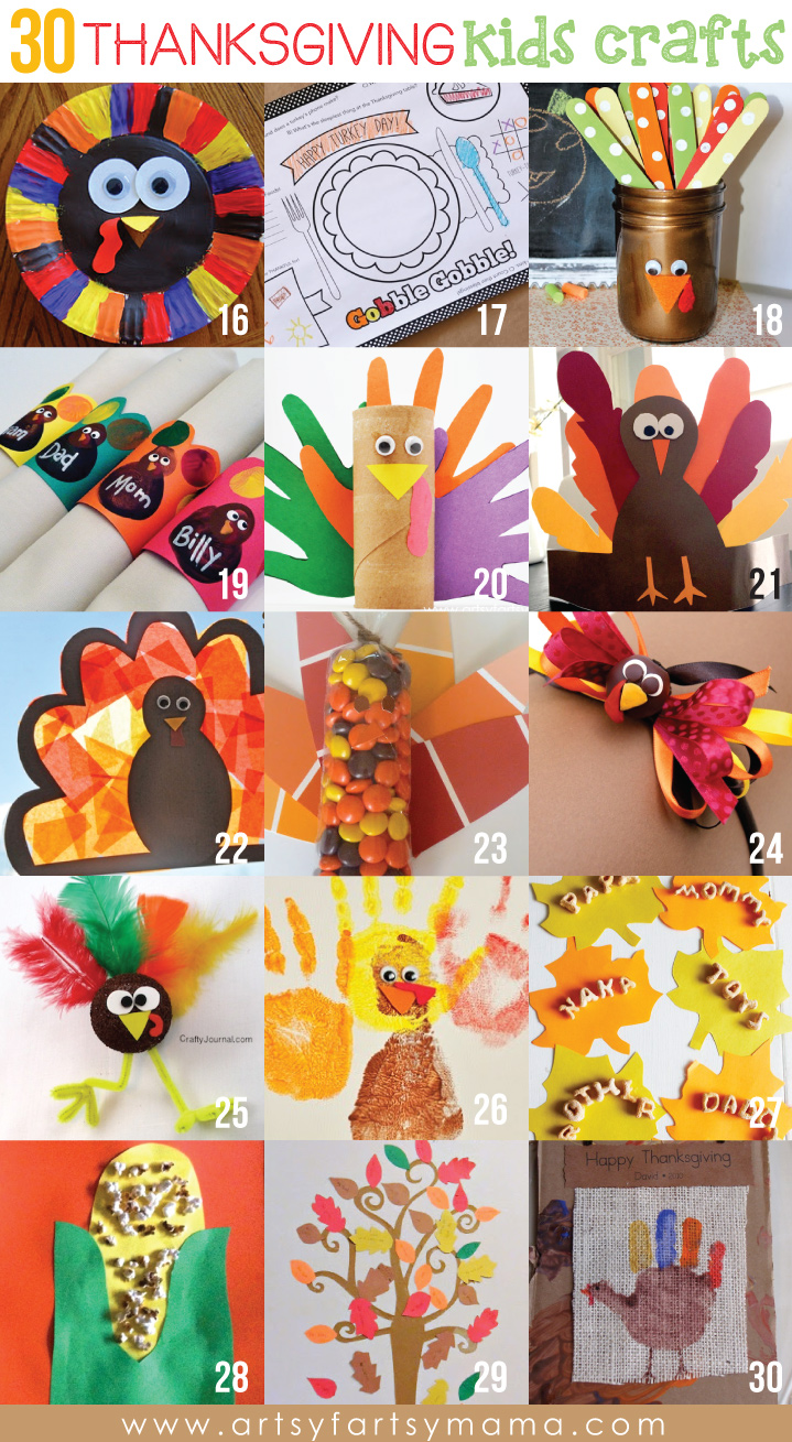 30 Thanksgiving Kids Crafts at artsyfartsymama.com #thanksgiving #kidscrafts #kids