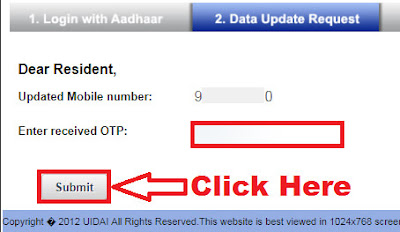 how to change mobile number in aadhar card through online