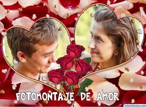 Fotomontajes De Amor Dos Corazones Con Rosas Fotomontajes De Amor