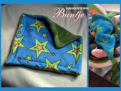 Schnuffeltuch Tuch Baby Geschenk Name Wellnessfleece Fleece türkis blau grün Sterne Junge Buntje handmade nähen