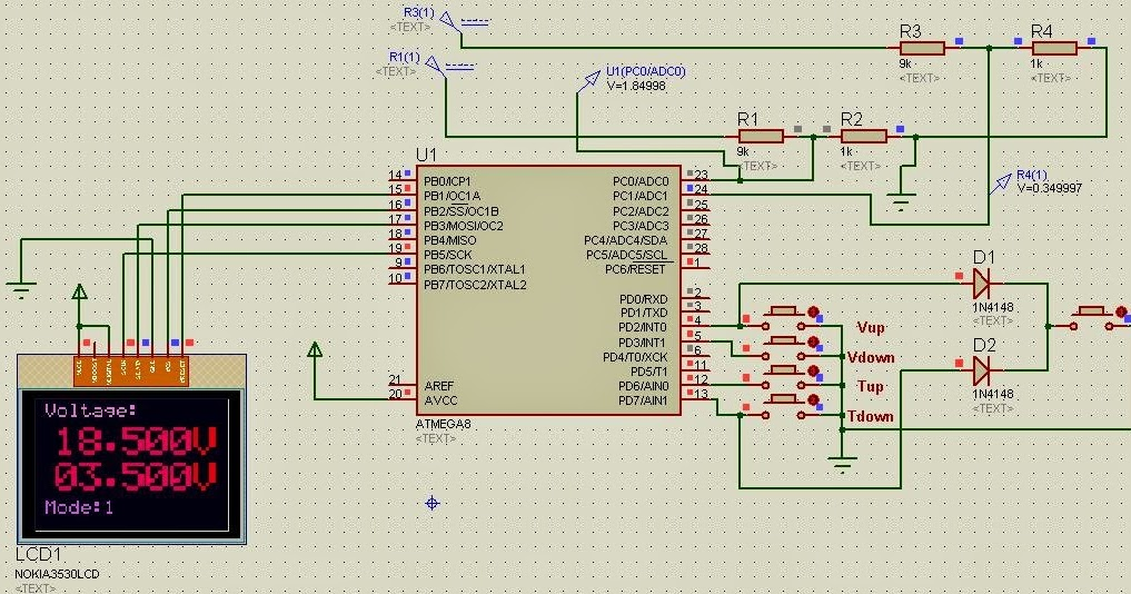 Nokia 3530i LCD interface with ATmega8 and Display of Voltage, Frequency, Waveforms