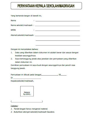 surat pernyataan kesesuaian data dokumen akreditasi sekolah