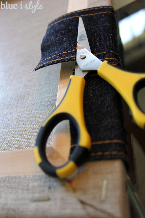 Gluing denim ribbon
