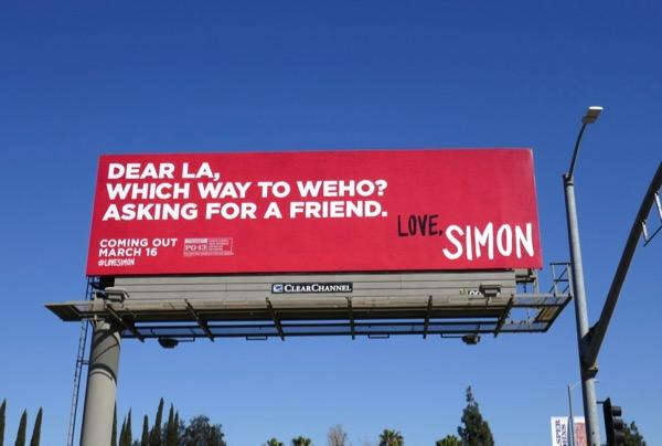 Dear LA Which way WEHO Love Simon billboard
