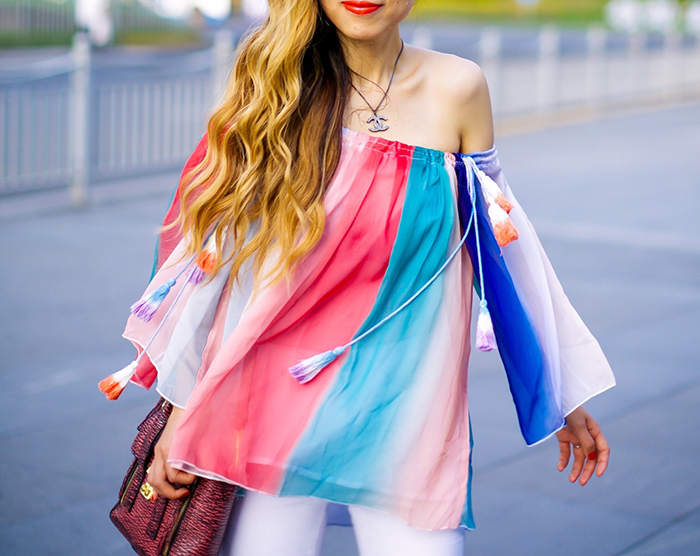 off shoulder rainbow tassel top, chanel necklace, quay sunglasses, asos white jeans, valentino rock studs flats, valentino rock studs balarrina, valentino rock studs, 31phillip lim mini pashli, street style in Shanghai, shanghai pudong IFC, Shanghai PuDong LuJiaZui