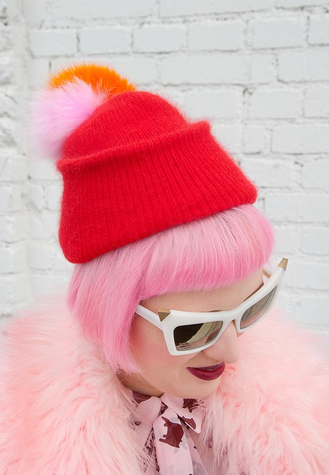pom pom hat, pink hair, Alexander Wang
