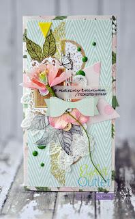 summer card by Marina Gridasova @akonitt #eyeletoutlet #by_marina_gridasova #card #scrapbooking #handmadecard #enameldots #washitape
