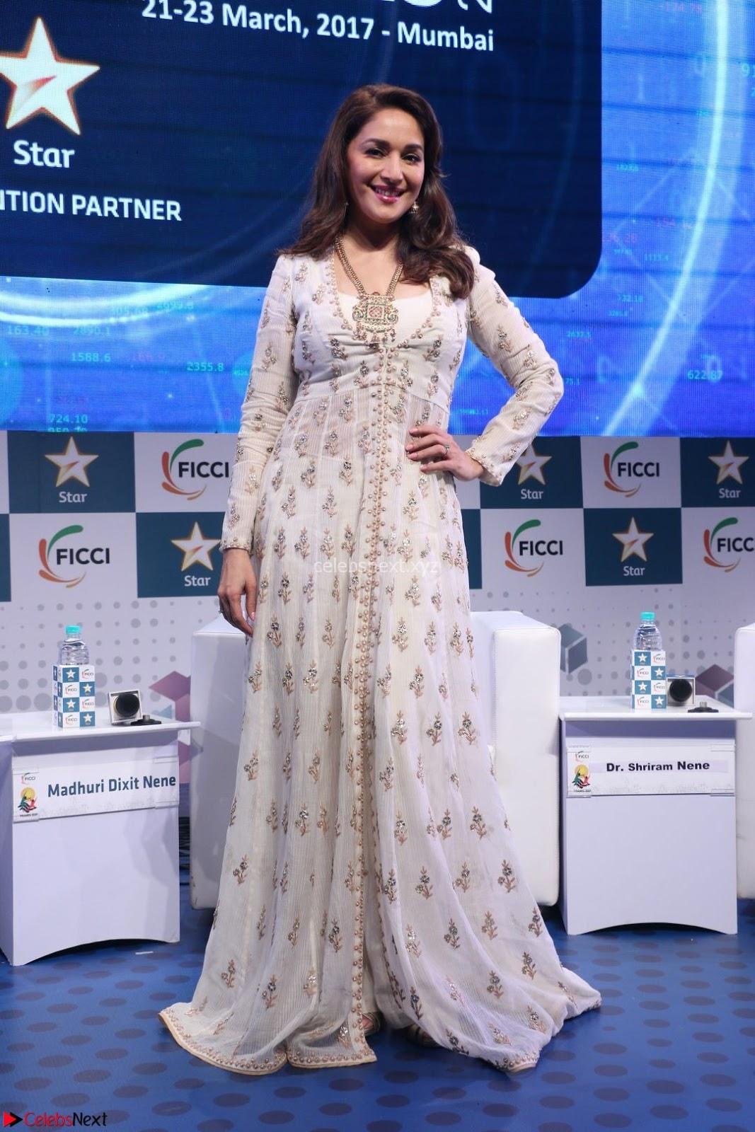 Madhuri Dixit Nene Looks Gorgeous with her husband Sriram Madhav Nene At FICCI FRAMES 2017 23rd March 2017