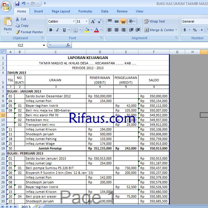 Contoh Format Excel Laporan Keuangan Ilmusosial Id