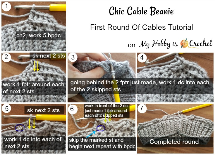 Chic Cable Beanie - Tutorial on myhobbyiscrochet.com