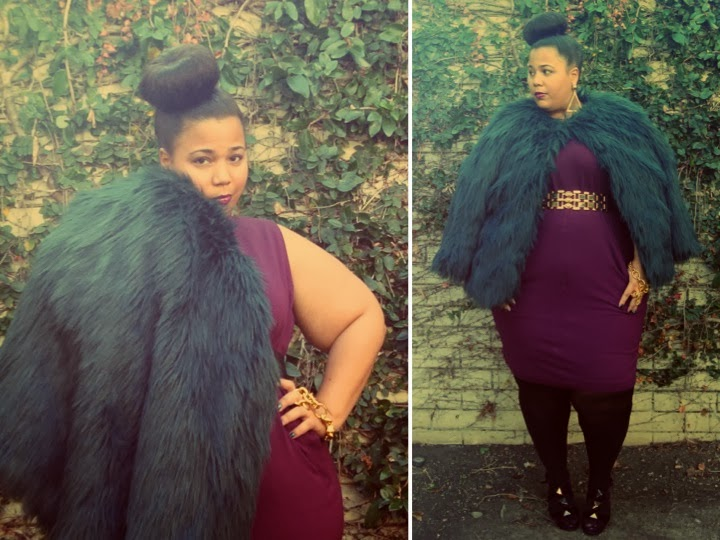 Faux Fur Coat, GwynnieBee, SimplyBe, plus size dress