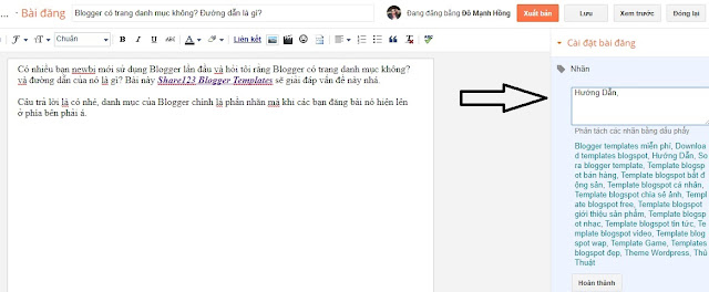 Blogger có trang danh mục không? Đường dẫn là gì?