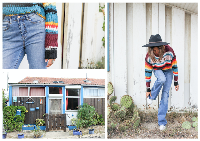 julie eye see,billabong,billabong women europe,pull,jean flare,denim,connotes,landes,rainbow,mode,photo shooting,sunrise never ends