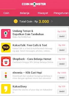 Undang teman dan download aplikasi/game di coin monster