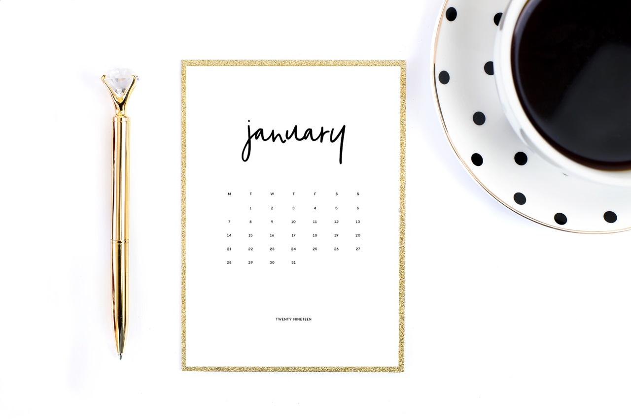 ładny kalendarz 2019 do druku do pobrania za darmo - minimalistyczny