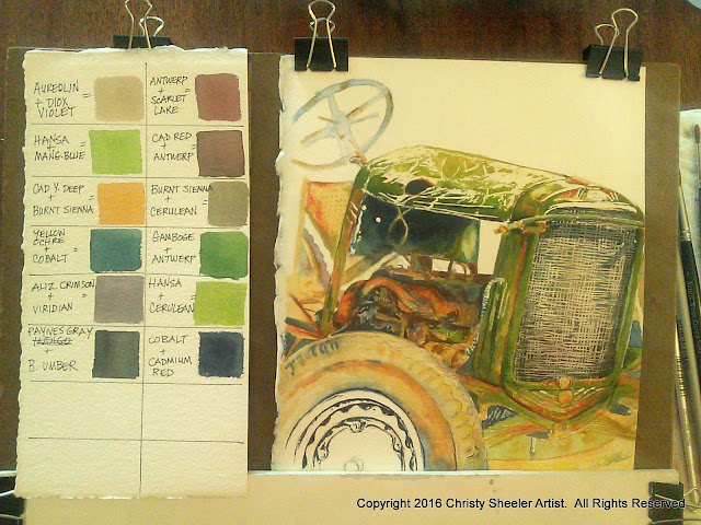 virtual studio tour vintage tractor watercolor in progress 2016 Christy Sheeler