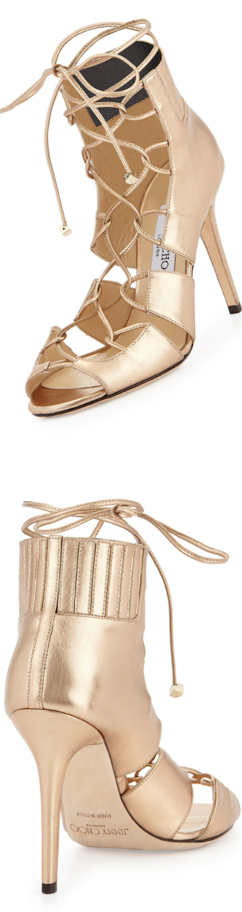 Jimmy Choo Myrtle Metallic Lace-Up Sandal