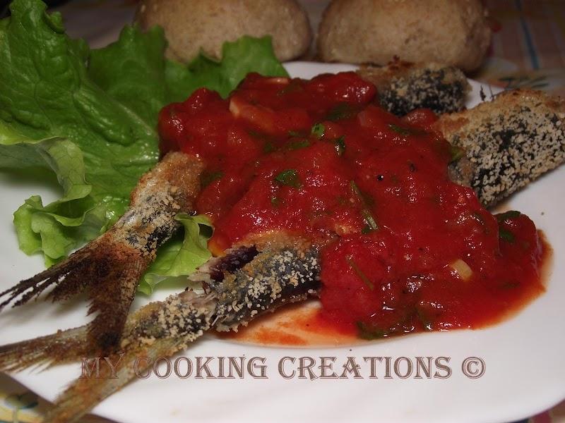 Панирани сардини с доматен сос * Sarde fritte con salsa di pomodori