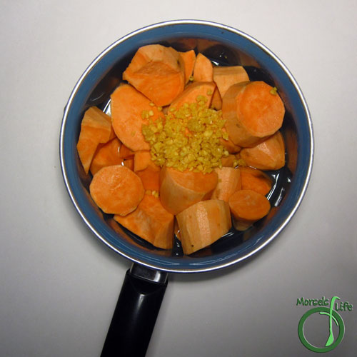 Morsels of Life - Garlic Mashed Sweet Potatoes Step 2 - Cook sweet potatoes in the smallest amount of water required. (Less water added means less water to boil off at the end to reach desired consistency.) Mix in garlic.