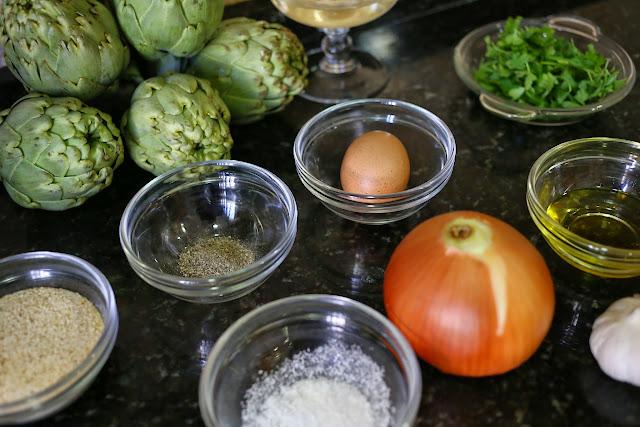 Ingredientes para alcachofas rellenas de carne