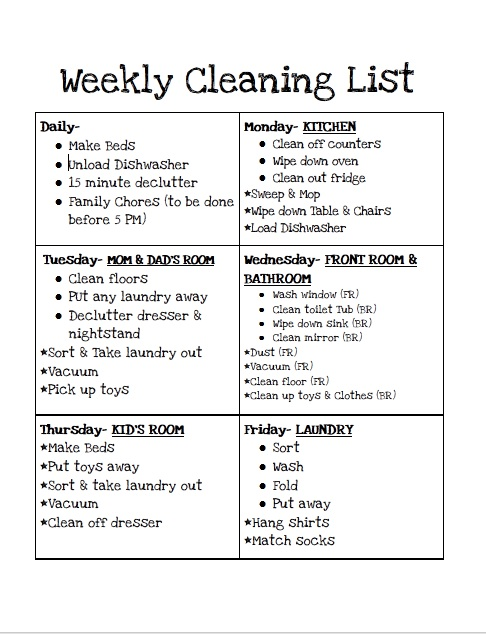 Sample House Cleaning Schedule House Cleaning Checklist Spring - Sample Spring Cleaning Checklist
