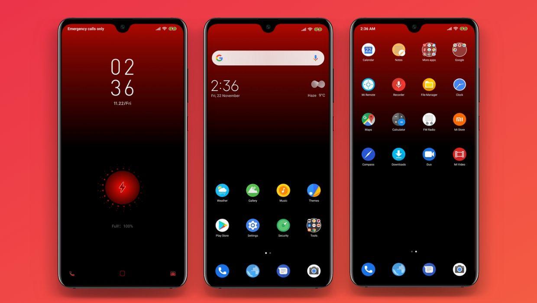 [HERUNTERLADEN] :  RED OS MIUI Theme |  Geben Sie Ihrem Gerät einen dunkelroten Look