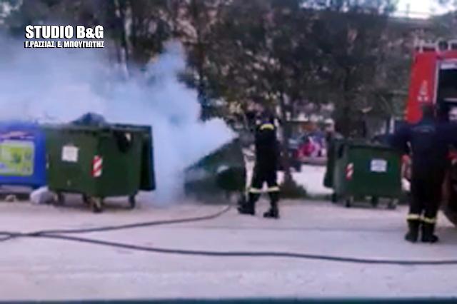 Μπαράζ πυρκαγιών σε κάδους απορριμμάτων στο Ναύπλιο (βίντεο)