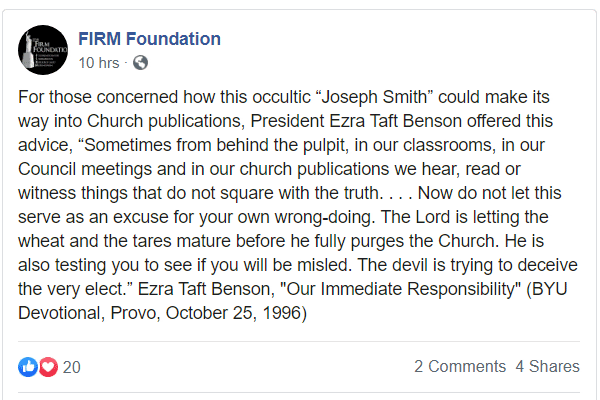 FIRM Foundation Facebook post from February 17, 2020