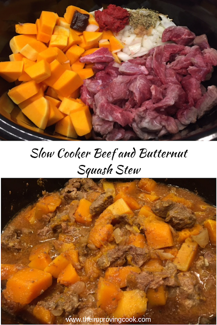 Before and after pictures of beef and butternut squash stew in a slow cooker.