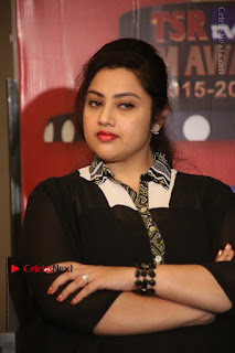 Tamil Actress Meena Latest Stills in Black Dress at TSR TV9 Awards Press Meet  0100.JPG